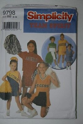 Simplicity 9798 Team Cheerleader Costume Uniform Sewing Pattern for Child 8-12 (Cheerleading Costumes For Kids)