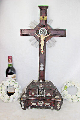 HUGE antique religious French Tramp art wood carved Crucifix chapel rare
