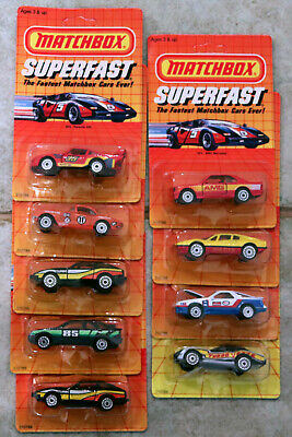 DTE 9 CARD 1985 MATCHBOX SUPERFAST LASER WHEEL CORVETTE, DATSUN, PORSCHE, SIERRA