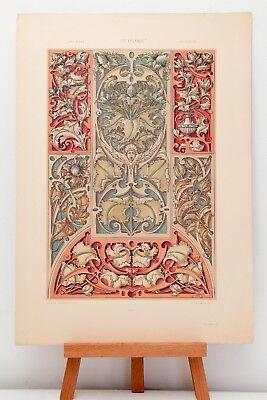"Farb-Lithographie Plate 186 Ornamente 1886 ""Die Pflanze in Kunst und Gewerbe"""