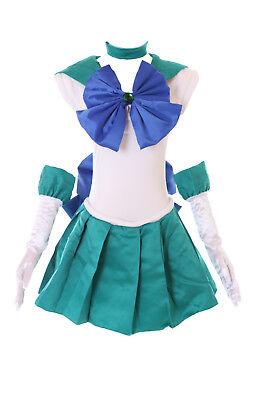 H-6010 Crystal Neptun Michiru Sailor Moon türkis grün Cosplay Kostüm Kleid (Sailor Neptun Kostüm)
