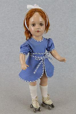 """14"""" old vintage composition Arranbee R & B Debu Teen Roller Skater Doll"""