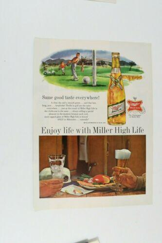 "1960s Miller High Life Beer Golf Magazine Print Ad ""Same Good Taste Everywhere!"""