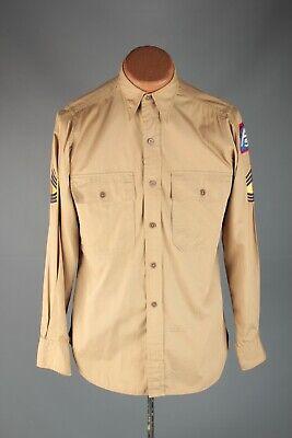 1940s Men's Shirts, Sweaters, Vests Vtg Men's 1940s WWII US 5th Army Khaki Uniform Shirt 14.5x33 Sz Small 40s #7539 $44.99 AT vintagedancer.com