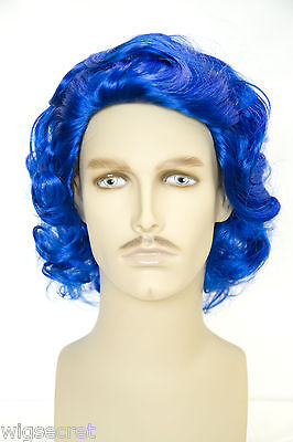 Fun Wigs For Men (Dark Blue Fun Color Medium Wavy Costume Fun Color Wigs Men)
