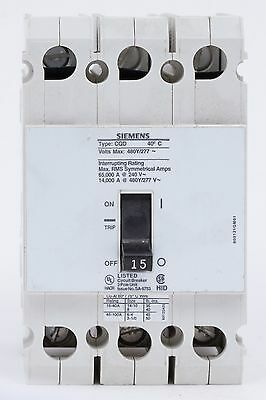 Siemens Cqd315 3 Pole 15 Amp 480vac Circuit Breaker Used No Box