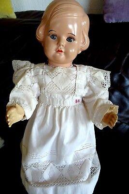 Schöne sehr alte Puppe CELBA Celluloid 58 cm wertvolle Kleidung Leinen Spitze