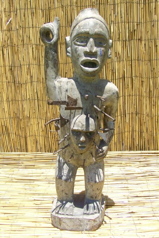 """African Bakongo Yombe  nkisi Nail Fetish Figure From DRC Congo 33"""" Tall"""