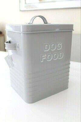 GREY METAL DOG FOOD TIN STORAGE TIN WITH METAL SCOOP PET FEEDER BOX