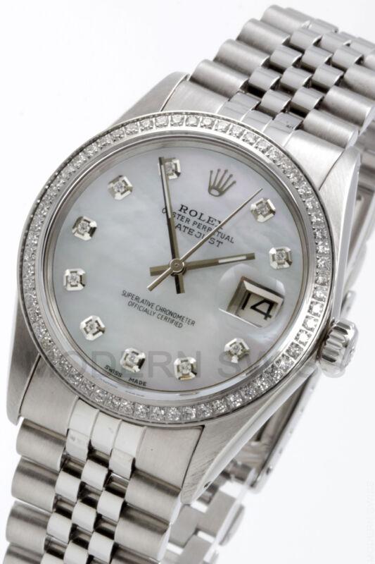 Rolex Mens Datejust Steel White Mop Diamond Dial & Bezel Jubilee Quickset 2yr