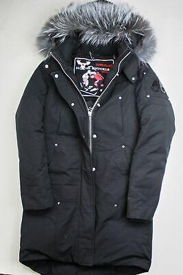 Moose Knuckles Mens Stirling Hooded Parka Coat Small Black / Grey Fur