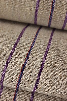 Grainsack fabric grain sack material hemp PURPLE RED BLUE  WIDE upholstery