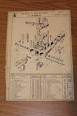 Lotus Elan 1964 Weber Carburetor 40 DCOE 18 Original Information Sheet