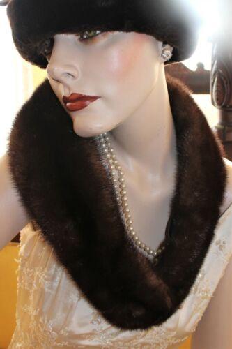 "35"" Long Vintage Dark Brown MINK Fur Sweater Coat Collar Velvet Lined Wrap"