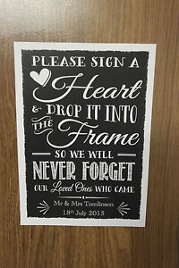 Wedding Drop Box Guest Book Instructions Personalised
