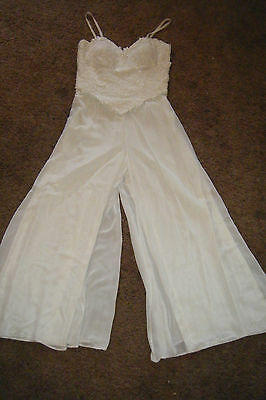 Vintage 80's ALYCE DESIGNS White JUMPSUIT Romper sz 6 Sheer Embroider big legs