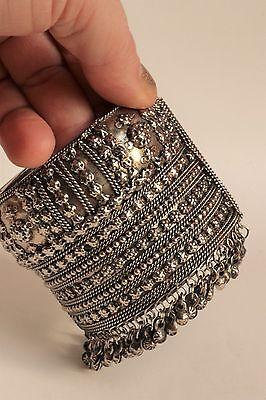 Vintage clamper wide cuff bracelet w/dangles studs bellydance Kuchi tribal style