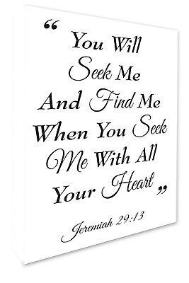 Biblical Script Jeremiah 29:13 Bible Quote Wall Canvas Print White 4 Sizes 083