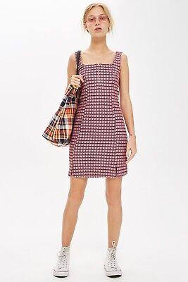 Topshop Check Pinafore Dress Size 8