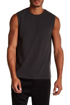 VINCE M39599353 Distressed Muscle Tank Men's 100% Cotton Stormy Grey 2XL NWT