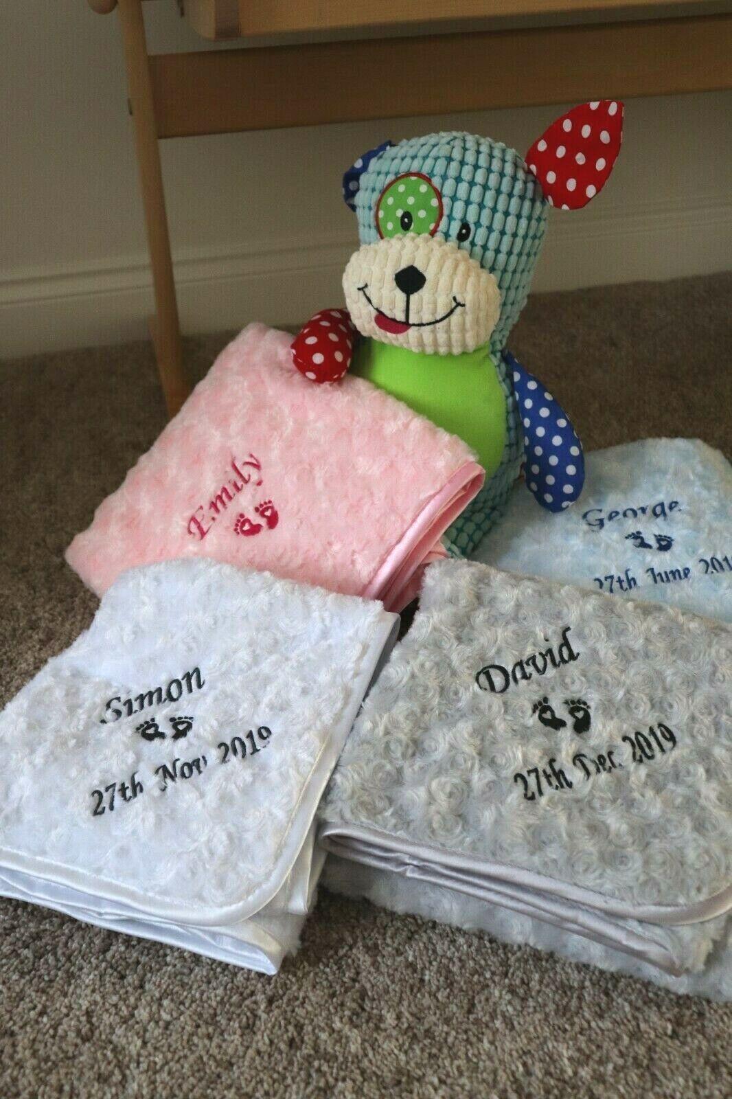 Personalised Baby Blanket Luxury Blue Rosebud Disney Font Name Print