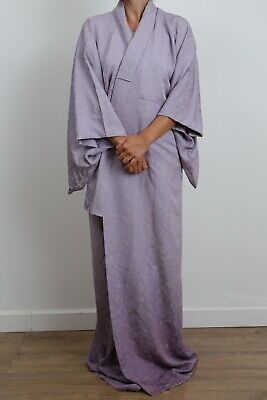 Authentic traditional vintage Japanese rinzu silk purple ombre kimono