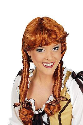 süße Damen PERÜCKE lange Zöpfe irish rot zB Kostüm Mittelalter Larp Cowgirl (Kostüm Zöpfe)