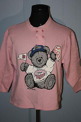 Vintage 1987 Minnesota Twins World Series Teddy Bear Pink Sweatshirt XL