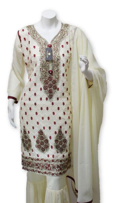 Party Wear Chiffon Dress With Gharara Pants Pakistani Indian Styles