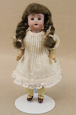 """7"""" antique bisque head German Doll w wood composition body 1890+"""