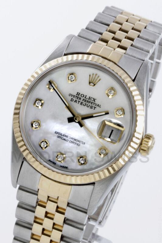 Rolex Mens Datejust Yellow Gold & Steel White Mop Diamond Jubilee 16013 Quickset