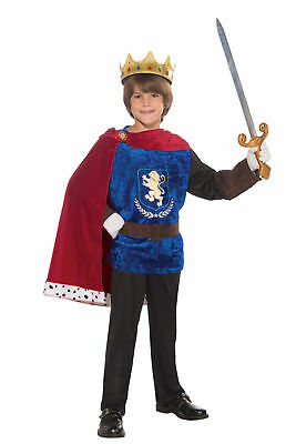 Prince Charming Child Costume Boys Blue Red Medieval Musketeer King Top Cape New