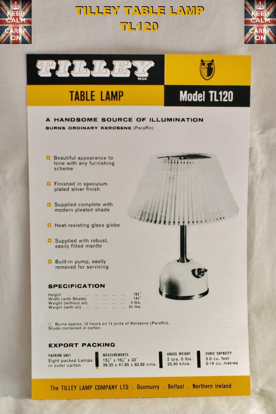 Tilley Lampe R55 Radiateur instructions CARTE NOTICE Tilley instructions