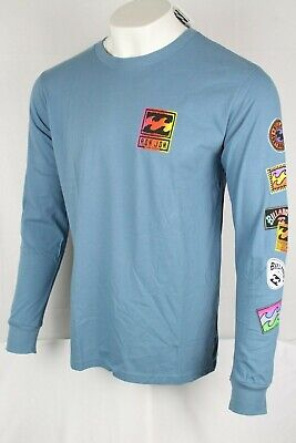 Billabong Ron Jon Men's Psycho Waves Long Sleeve Tee Shirt Blue M405VBPW