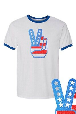Peace Fingers Flag Retro Vintage 4th July RINGER Tee FREE SHIP USA Patriot