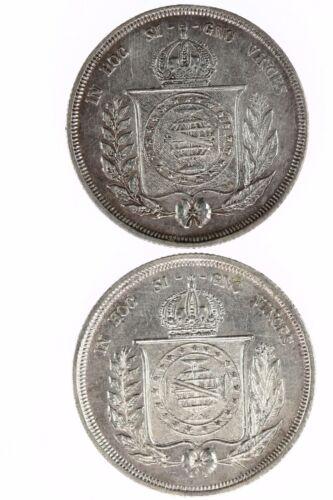 Raw 1857 & 1863 Brazil 500 Reis Coin Lot
