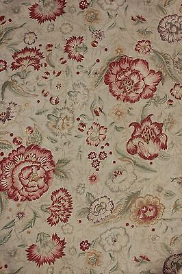 (Printed linen fabric French faded floral STUNNING design with rings c 1920 1930)