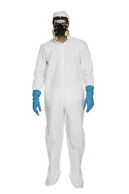 Mens Fancy Dress Outfit White Protective Suit & Mask Coverall Costume Male