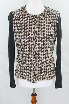 Cabi Womens Style Number 978 wool blend knit zip up blazer 6 jacket houndstooth for sale  Minneapolis