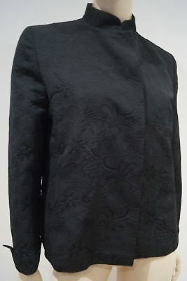 MAXMARA Black Floral Embossed Cotton Blend Collarless Long Sleeve Blazer Jacket
