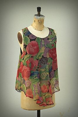 INSTYLE Hi Low Tunic Vintage 1980s Baby Doll Bold Tulips Design Garden Club M