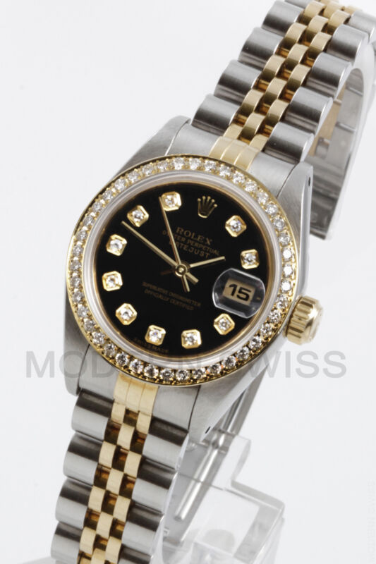 Rolex Ladies Datejust Gold & Steel Black Diamond Dial& Bezel Jubilee 2tone 6917