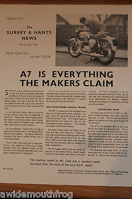 BSA A7 & Shooting Star Official Factory Reprinted Road Test 1960