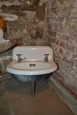 Antique Salvage Cast Iron White Porcelain Sink 1800's Old Bathroom Vintage