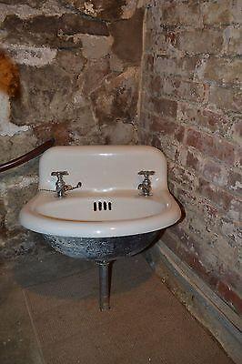 Antique Salvage Cast Iron White Porcelain Sink 1800's Old Bathroom Vintage