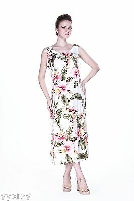 Plus Size Dress Maxi Indigo Tropical Luau Dress Cruise Hawaiian Cream - Plus Size Luau Dress