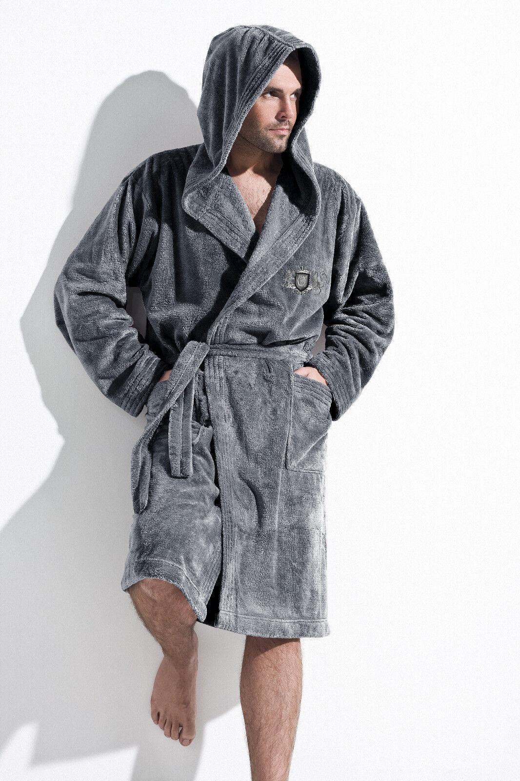 Mens Luxury Dressing Gown Housecoat Bathrobe with Hood, Robe UK Size ...