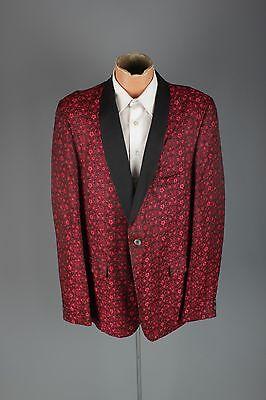 Vtg Men's 1960s Red Floral Print Brocade Tux Jacket sz L 44 46 60s  Blazer #3036