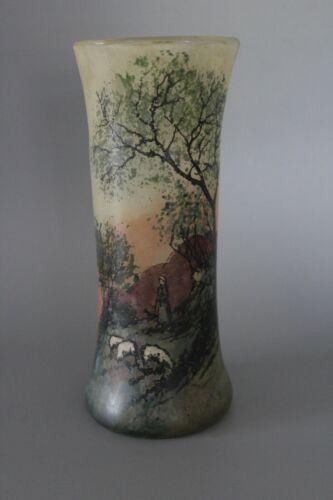Hexagonal 23cm French Legras Glass Vase signed Leg