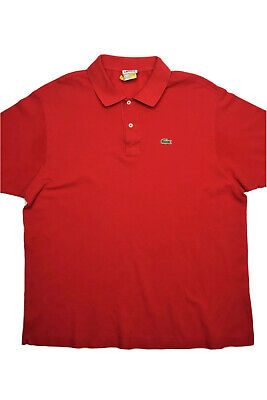 Lacoste Mens Polo Shirt Size 8 Red Short Sleeve Cotton 2 Button Casual Solid
